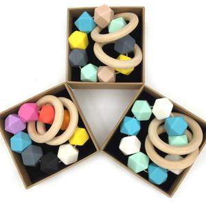 Bracciale Perle personalizzati silicone di modo Hexagon Dentaruolo borda il braccialetto del bambino Anello per la dentizione Molar giocattolo commestibile silicone per Kid all'ingrosso