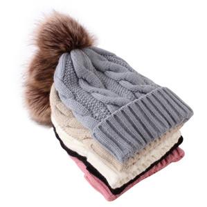 2021 Adults Pom Beanies Winter Warm Fleece Thicken Twist Knit Hats Skull Caps Fashion Outdoor Girls Big Pom Pom Crochet Hats Cap LY10131