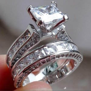 Wholesale Fashion 925 Sterling Silver Jewelry Set Square Topaz CZ Simulated Diamond Gemstone Rings Sets Wedding Band Ring Finger For Womengo