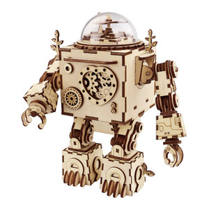 Robotime Steampunk DIY Robot Wooden Clockwork Music Box Decoration Gift AM601 LJ200928