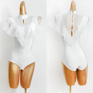 Ballroom Latin Dance Costumes Professional Dancing Leotard Latin Practice Performance Clothing Salsa Samba White Shirt VDB2644