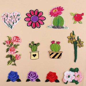 Fiore di cactus Ricamo Patch di calore trasferibili a caldo cuce sulle patch per DIY T-shirt Abbigliamento Adesivi Applique decorativo 47219