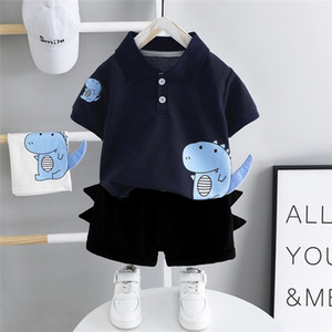HYLKIDHUOSE Baby Boys Clothing Sets 2020 Summer Toddler Infant Short Sleeve Dinosaur Lapel T Shirt Shorts Children Clothes LJ201203