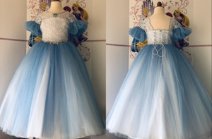 Modest Juliet Sleeves Flower Girls Dresses Multi Color Princess Tulle Lace Applique Bows 2021 Pageant Prom Formal First Communion Dress