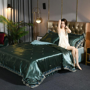 Luxury Style AB Satin Skin Cotton Duvet Cover Bed Sheet Pillowcases Dark Green Pink Golden Purple Grey Silver Queen King