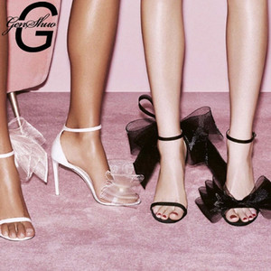 GENSHUO Satin Shoes Woman Sweet Big Bow Knot Elegant Ankle Strap Party Shoes Black High Heels White Wedding Open Toe #8R9e