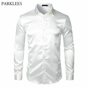 Stylish White Silk Satin Shirt Men Chemise Homme Casual Long Sleeve Slim Fit Mens Dress Shirts Business Wedding Male Shirt 201021