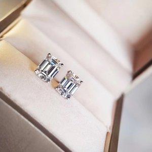 S925 reines Silber Luxuriöse Qualität Bolzenohrring mit Diamanten sparky in Quadrat und Rechteck-Form für Frauen Nachtclub Hochzeit Schm