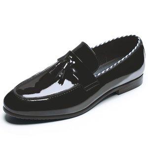Yomior 2020 officiel cuir souple Casual Chaussures Hommes Noir Chaussures habillées formelle Tassel Vintage mariage d'affaires Wedge Party Oxfords