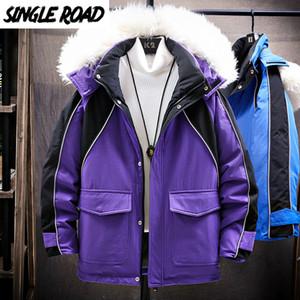 SingleRoad Mens Down Jacket Men Winter Cargo Jacket Coat Purple Patchwork Hooded Windproof Hip Hop Streetwear Jackets Men 201022