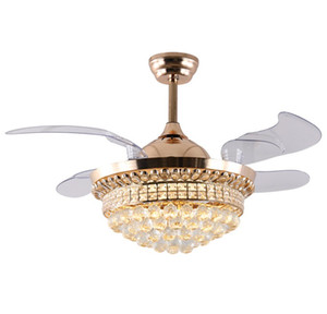 42 Inch Invisible Crystal Ceiling Fans with LED Light and Remote Control,Indoor Ceiling Light with 4 Retractable ABS Blades Fans