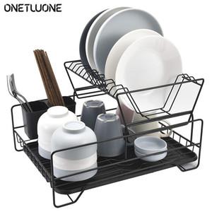 Cuisine Iron Plat-rack Cuisine Organisateur Stockage Draineur de séchage de la plaque d'évencement d'éventissements de couteau et de fourche Conteneur à 2 couches