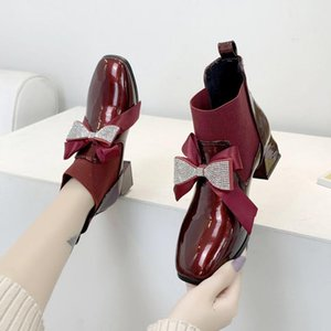 Rimocy 2020 New Fashion Rhinestone Bowknot Short Boots Women High Heels Patent Leather Elastic Ankle Boots Winter Shoes Woman