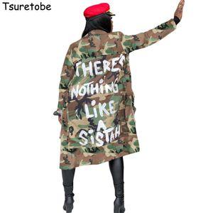Tsuretobe Plus Size Camouflage Trench Coat Women Autumn Casual Letter Print Coat Pockets Long Sleeve Overcoat Female Outwear 201028