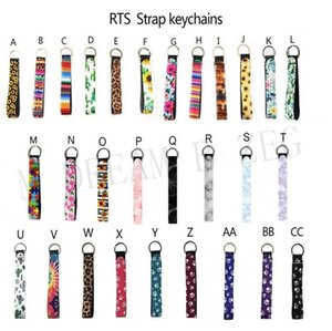 Wristlet Strip Keychain Colourful Belt Neoprene Key Long Sunflower Material Leopard Lanyard Key Wrist Ring Diving Printed Keychains Peoda