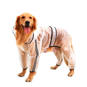 개 후드 레인 코트 투명 반사 방수 레인 코트 비옷 여름 애완 동물 의류는 대형 사이즈 XS-7XL 공급