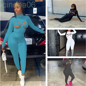 2021 Novas Mulheres Jumpsuit Designer Outono Primavera Sexy Hollow Out Cinta Cor Sólida Esportes Slim Macacão Moda Casual Roupas