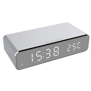Novo Elétrico LED despertador com telefone celular carregador sem fio HD espelho de relógio com tempo de memória relógio termômetro digital LJ201204