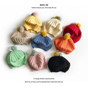 Children Baby Beret Hat Cap for Boys Girls Fashion Fur Balls Toddler Kids Hat Winter Warm Woolen Knitted Cap New Arrivals 2020