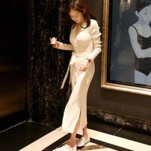 JXMYY Otoño e invierno Nueva Moda y elegante color puro suelto de longitud media delgada con punto de punto con corbata venta caliente # ka7r