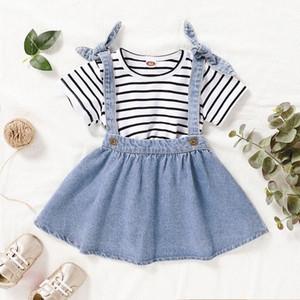 Summer Girl di alta qualità del vestito della neonata casuale Skirt Set Stripe Shorts T-shirt + denim Suspender Skirt 4heU #