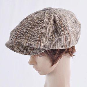 Gentleman Octagonal Cap Men Tweed Tweed Wool Newsboy Caps Plaid Flat Unisex Beret Hat