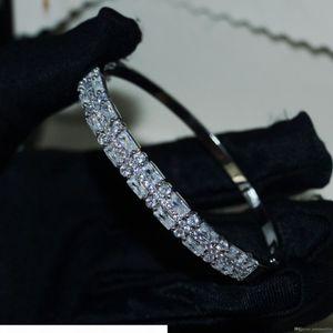 high end K Choucong New Arrival Luxury Jewelry Sterling Silver Princess Cut White Topaz Cz Diamond Gemstones Circle Women Wedding Bangle Gif