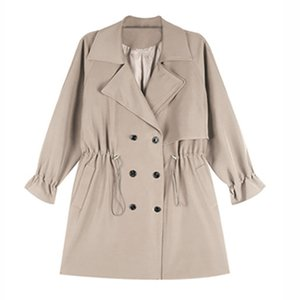 Aecu Automne Femmes Long Trench Office Lady Simple Classiccoat Pocket Chic Femme Manteau coupe-vent Outwear