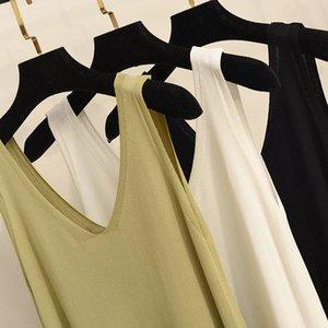 Knitted Suspender Dress Mid-Length Sleeveless Vest Skirt Loose V-neck Slimming A- line Skirt 2020 Summer Bottoming Skirt