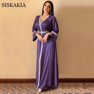 Siskakia Satin Maxi Robe pour femmes Turquie Arabe Diamant V cou à manches longues Jalabiya Muslim Islamic Ethnic Abaya 2020 automne Nouveau Y0118