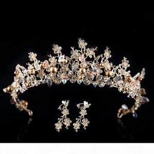 Baroque style rhinestone queen wedding crowns with earrings for women handmade bridal crystal tiaras hair jewelry accessorie