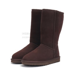 JIANBUDAN Genuine Leather Snow Womens Casual Winter Shoes Cow Suede Plush Warm Female Cotton Boots Size 35-40#495
