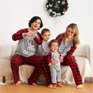 Dad Mom Baby Kids Elk Print Plaid Suit for Family Halloween Home Pajamas Set Christmas Mother Daughter Matching Clothes Outfits 201020