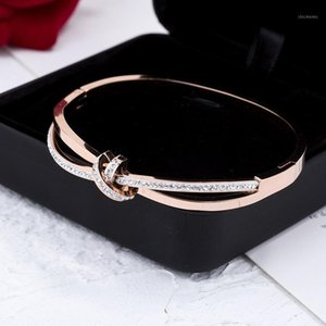 AENINE Titanium Steel Fashion Full CZ Crystal Bowknot Cuff Bangles Bracelet Rose Gold Wedding Bangle Jewelry For Women AB190941