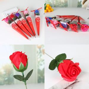 Koni Ambalaj Kılıfı Çiçekler Sevgililer Günü Lover Hediye Yapay Gül Tek Sabun Buketi Kırmızı Şeffaf Exquisite 1 9xya G2