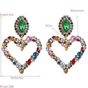 202Women Drop Earrings Silver Fashion Classic Lady Big Brand Design Glass Drill Heart Stud Earrings Colorful Statement Earring Jewelry Gifts