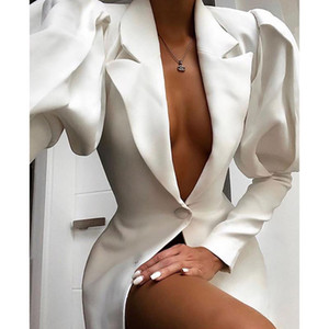 Autumn women's professional coat sexy deep V-neck puff sleeve white coat cardigan button casual blazer office women elegant