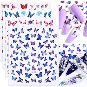 3D Butterfly Stickers for Nails Romantic Flowers Rose Blue Nail Art Decoration Floral Decal Tips DIY Design Manicure CHDP159-170