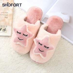 SHOFORT Women Shoes Warm Soft Bottom Cotton House Slippers Couple Winter Household Men Women Cute Non-slip Indoor House Shoes 201104
