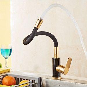 360 Maniglia girevole oro e nero rubinetto della cucina Spazio Alluminio Oro sola nave calda fredda del bacino del dispersore del rubinetto miscelatore Torneira YpgW #
