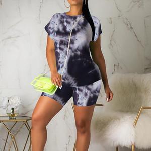 tracksuit women Fashion Woman Summer 2 Piece set Sports biker shorts Suit Set Casual Tie Dyed Suit clothes vendor wholesale