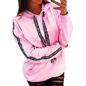 2020 Women Autumn Sweatshirt Ladies Long Sleeve Solid Hooded Pullover Tops Blouse Letter Print Hoodies Women Plus Size 5XL