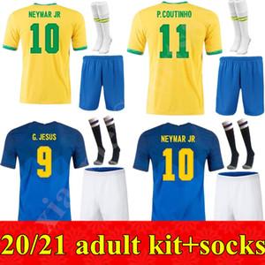 성인용 키트 20 21 브라질 축구 유니폼 G.Jesus 2020 2021 Coutinho Firmino Marcelo Men 키트 Brasil 축구 유니폼 셔츠