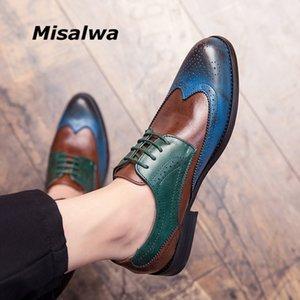Misalwa Misalwa Full Brogue Homens Casuais vestido sapatos azuis retalhos contraste cor oxford pu couro sapatos formais festa cavalheiro britânico y200420