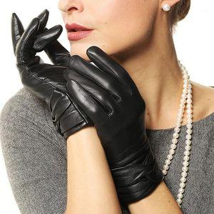 New Women Black TouchScreen Leather Gloves Warm Fashion Winter Genuine Goatskin Driving Glove Five Finger L074NZ11