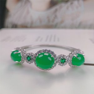 Natural Green Jade Bangle Braclets for Women Bracelet Women Accessories Silver 925 Jewelry Round Classic Joyeria Plata