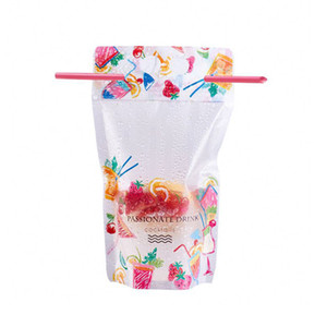 500ml Fruit pattern Plastic Drink Packaging Bag Pouch for Beverage Juice Milk Coffee, with Handle and Holes for Straw