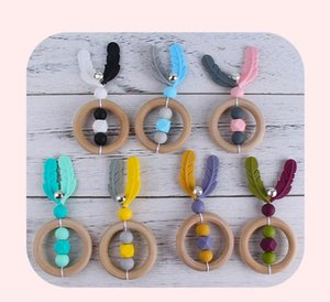 New DIY feather silicone baby teether wood newborn teethers cute Infant teething beads gutta-percha baby toys wholesale B3242