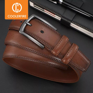 New Fashion Men's Genuine Leather Belts Designer Belt for Man Pin Buckle with Leather Strap Business Dress Male Belts HQ091