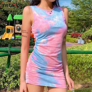 Instahot Tie Dye Tank Vestido sin mangas Drawstring Hem O O Cuello Verano Slim Women Mini Dress Bodycon Casual Party Vintage Vestidos1